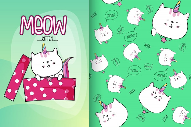Ręcznie rysowane słodkie kotek z wektor wzór zestaw