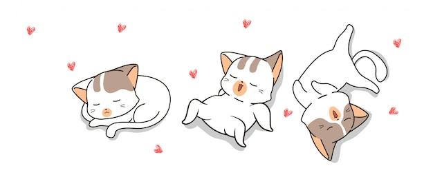 Ręcznie rysowane słodkie koty śpią