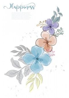 Ręcznie rysowane słodkie kwiaty kwitną z czarną linią