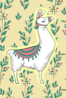 Ręcznie rysowane słodkie lamy. projekt nadruku na koszulkę. ilustracja. dziecinny