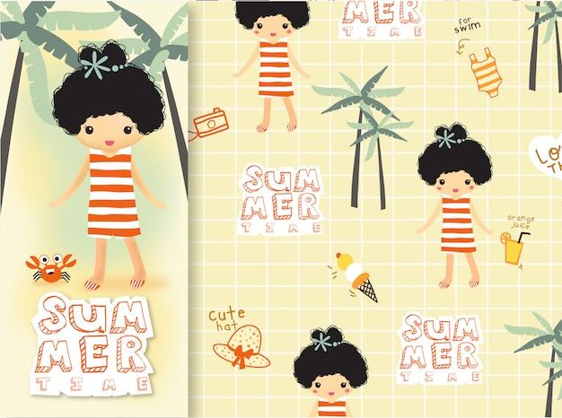 Ręcznie rysowane słodkie lato dziewczyna pomarańczowy