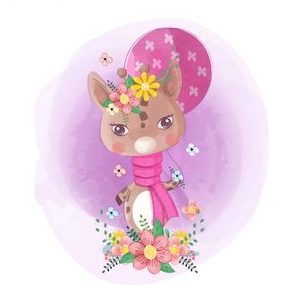 Ręcznie rysowane słodkie małe żyrafy z kwiatami i balony