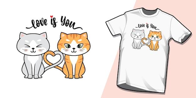 Ręcznie rysowane słodkie para kotów tshirt wzorów szablonów
