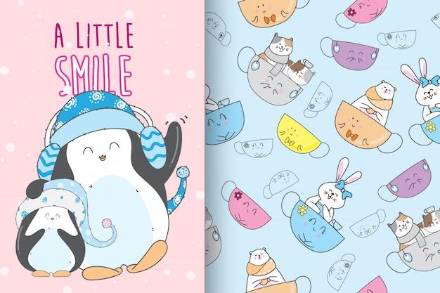 Ręcznie rysowane słodkie pingwina z wektor wzór zestaw