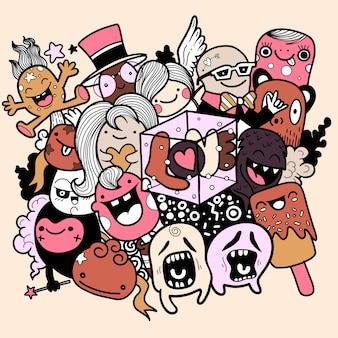 Ręcznie rysowane słodkie potwory z literami miłość, ilustracje.