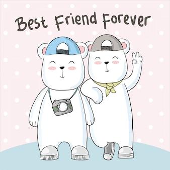 Ręcznie rysowane słodkie przyjaźni niedźwiedzia