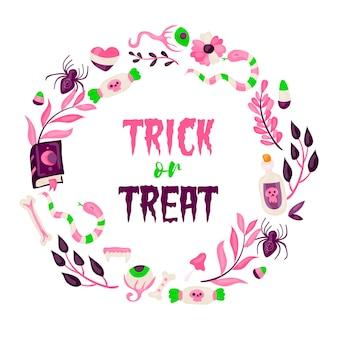 Ręcznie rysowane słodkie ramki halloween