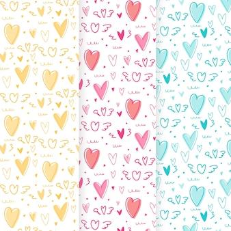 Ręcznie rysowane słodkie serce wzór tła