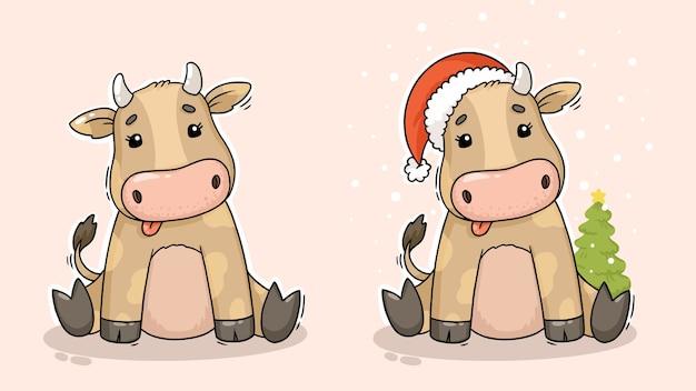 Ręcznie rysowane słodkie świąteczne postacie zwierząt