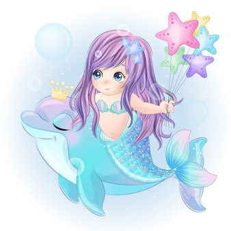 Ręcznie rysowane słodkie syrenka grać z delfinem