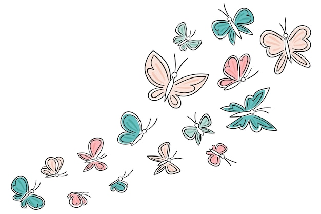 Ręcznie rysowane słodkie tło zarys motyla