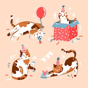 Ręcznie rysowane słodkie urodziny kolekcja