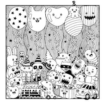Ręcznie rysowane słodkie urodziny potwora kreskówek.