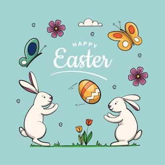 Ręcznie rysowane słodkie wielkanocne ilustracja z królikiem