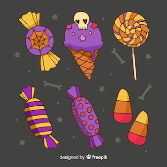 Ręcznie rysowane słodycze halloween kolekcji