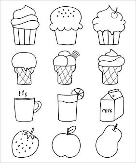 Ręcznie rysowane słodycze i zestaw deser