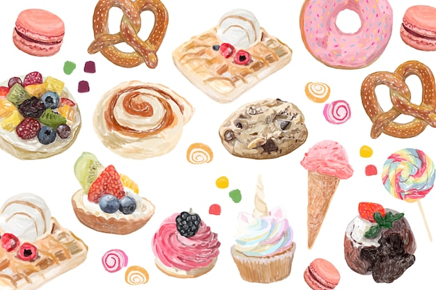 Ręcznie rysowane słodycze stylu przypominającym akwarele