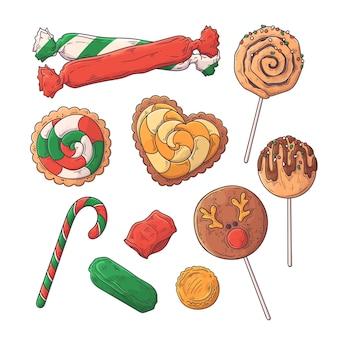 Ręcznie rysowane słodycze świąteczne.