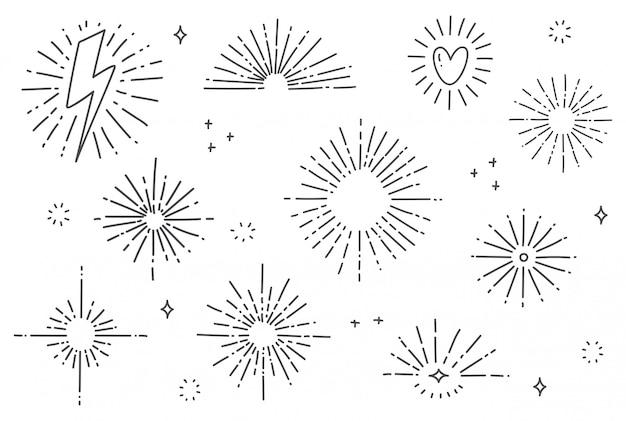 Ręcznie rysowane słońce tryśnięcie doodle