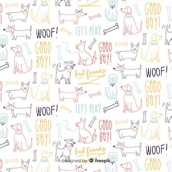 Ręcznie rysowane słowa i wzór zwierząt