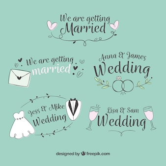 Ręcznie rysowane ślub etykieta / odznaka kolekcja