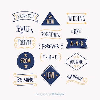 Ręcznie rysowane ślub kolekcja slogan