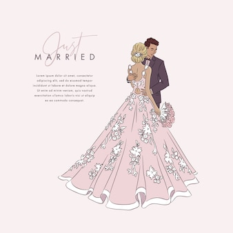 Ręcznie rysowane ślub para tło