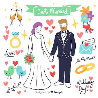 Ręcznie rysowane ślub para z elementami