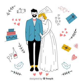 Ręcznie rysowane ślub para z ornamentami