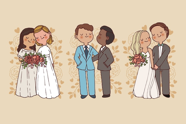 Ręcznie rysowane ślub para