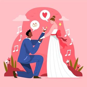 Ręcznie rysowane ślub pary koncepcji