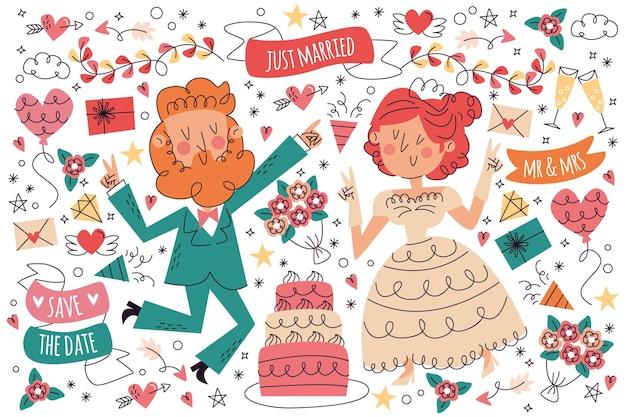 Ręcznie rysowane ślubna kolekcja doodle