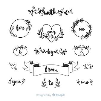 Ręcznie rysowane ślubna kolekcja haseł
