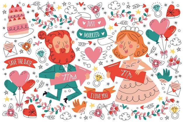 Ręcznie rysowane ślubny pakiet doodle