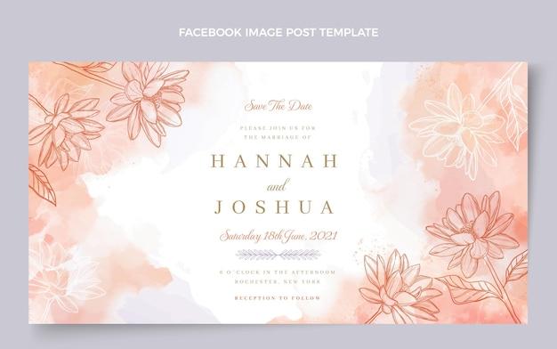Ręcznie rysowane ślubny post na facebooku