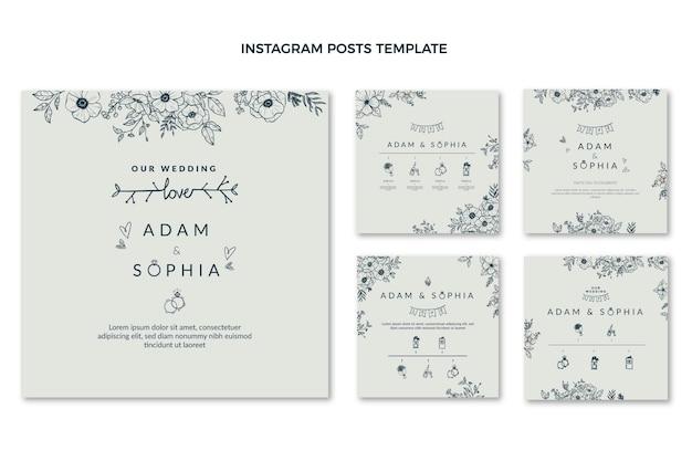 Ręcznie rysowane ślubny post na instagramie
