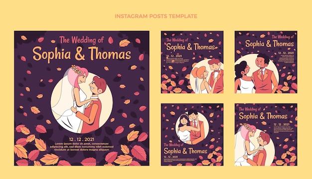 Ręcznie rysowane ślubny zestaw postów na instagramie