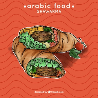 Ręcznie rysowane smaczne shawarma