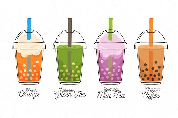 Ręcznie rysowane smaki herbaty bąbelkowej stylu