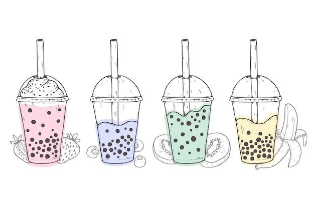Ręcznie rysowane smaki herbaty bąbelkowej