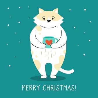Ręcznie rysowane śmieszne gryzmoły kot kreskówka