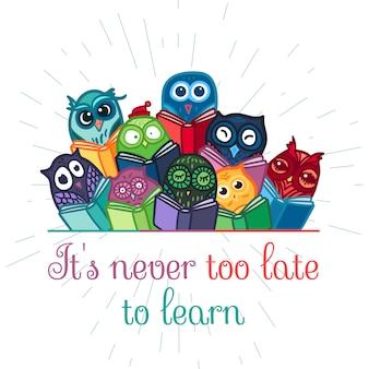 Ręcznie rysowane śmieszne sowa z książką. sowy nauka przedmiotów do druku, tkanin, okładów i ilustracji, gier, przedmiotów internetowych i dziecięcych. . wektor