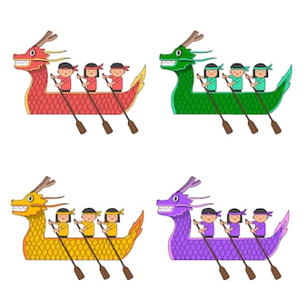 Ręcznie rysowane smoczych łodzi kolekcji