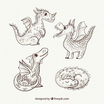Ręcznie rysowane smoki w pięknym stylu