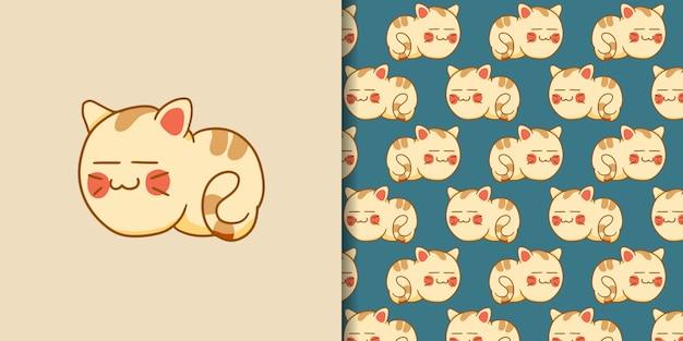 Ręcznie rysowane snu kota z wzór
