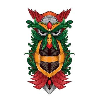 Ręcznie rysowane sowa i ornament lustro
