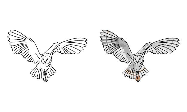 Ręcznie rysowane sowa kolorowanka dla dzieci