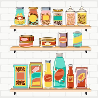 Ręcznie rysowane spiżarnia z różnymi produktami spożywczymi