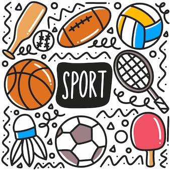 Ręcznie rysowane sport doodle zestaw z ikonami i elementami projektu