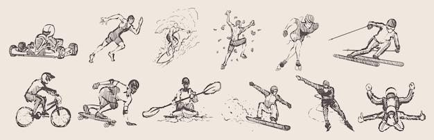 Ręcznie rysowane sporty. zestaw do sportów ekstremalnych